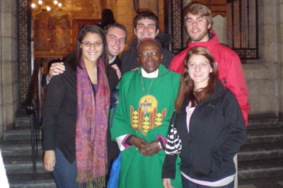 Students with Desmond Tutu